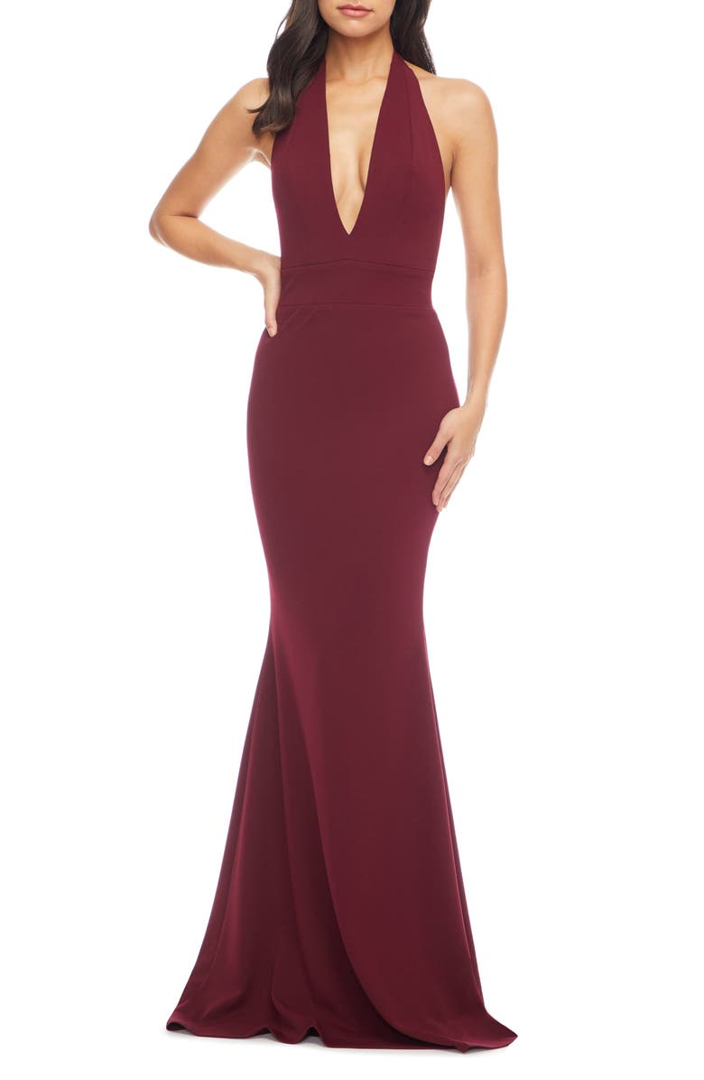 DRESS THE POPULATION Camden Mermaid Hem Evening Gown, Main, color, BURGUNDY