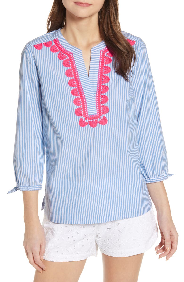 VINEYARD VINES Savannah Stripe Embroidered Top, Main, color, 464