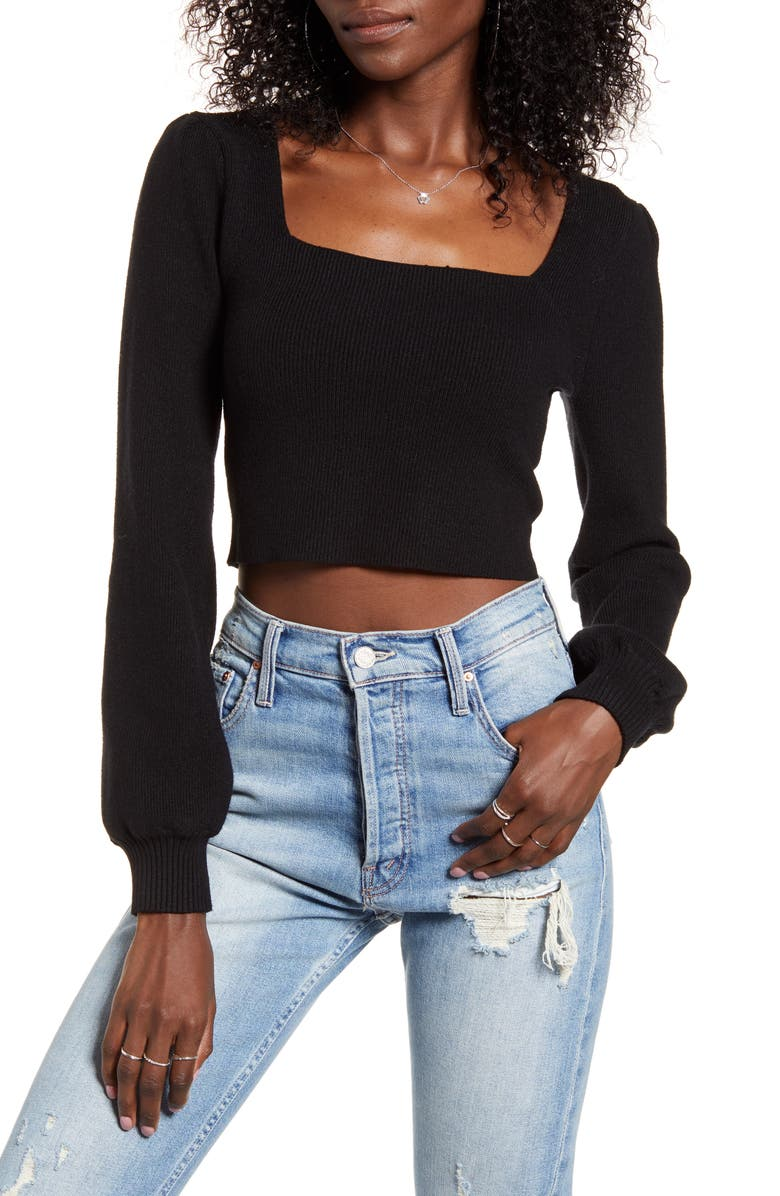 4SI3NNA Lina Square Neck Crop Sweater, Main, color, BLACK