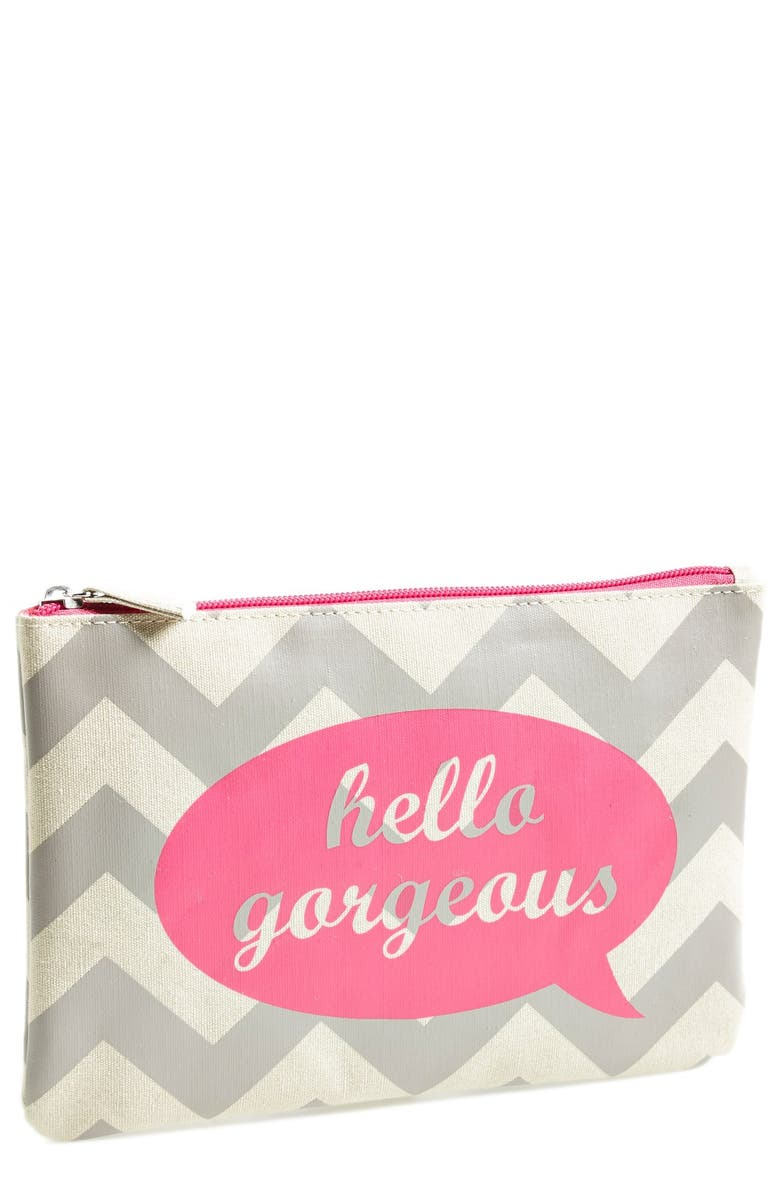 BAMKO 'Hello Gorgeous' Flat Pouch Cosmetics Bag, Main, color, 000