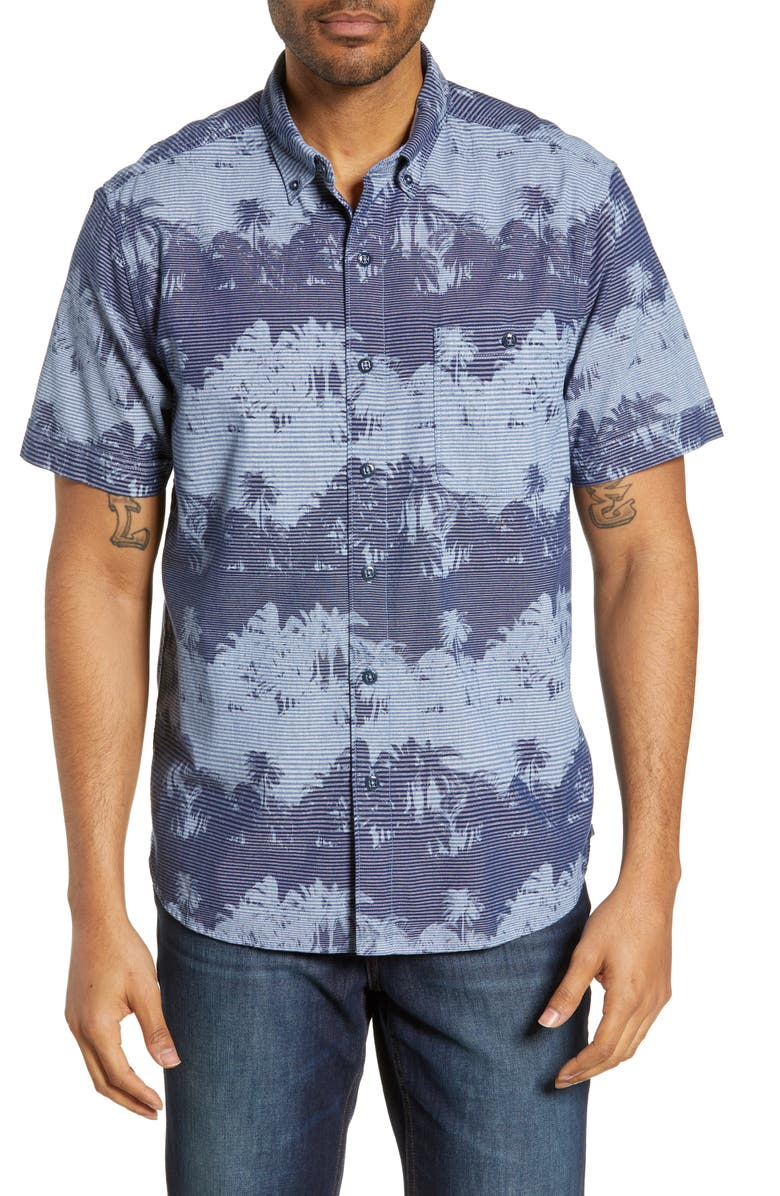 TOMMY BAHAMA Pixel Palms Cotton Sport Shirt, Main, color, 400