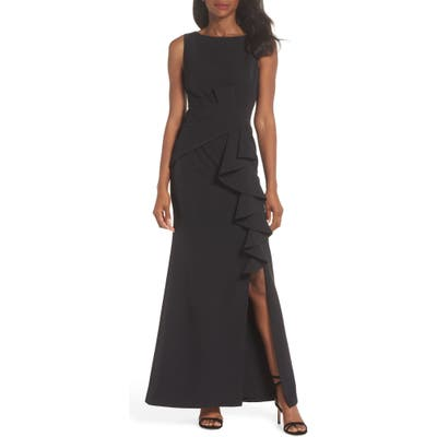 Eliza J Ruffle Front Gown, Black