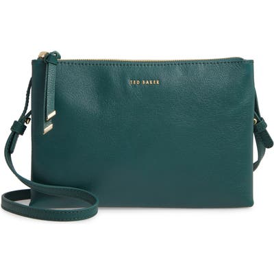 Ted Baker London Daniibar Double Zip Leather Crossbody Bag - Green