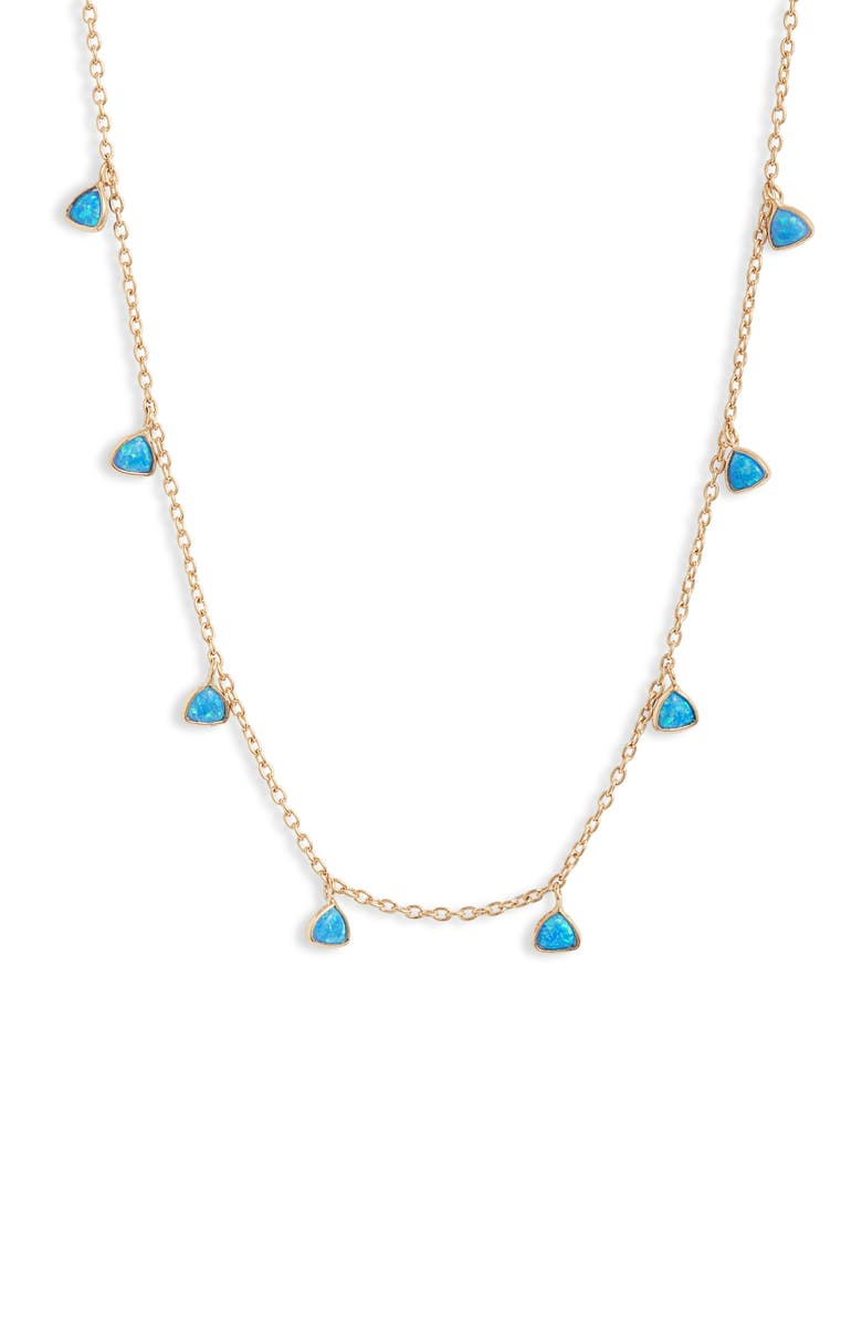 SET & STONES Cara Shaker Station Necklace, Main, color, GOLD/ BLUE