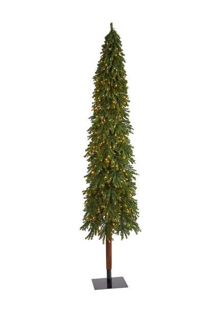 Image of NEARLY NATURAL 9ft. Grand Alpine Artificial Christmas Tree with 600 Clear Lights on Natural Trunk