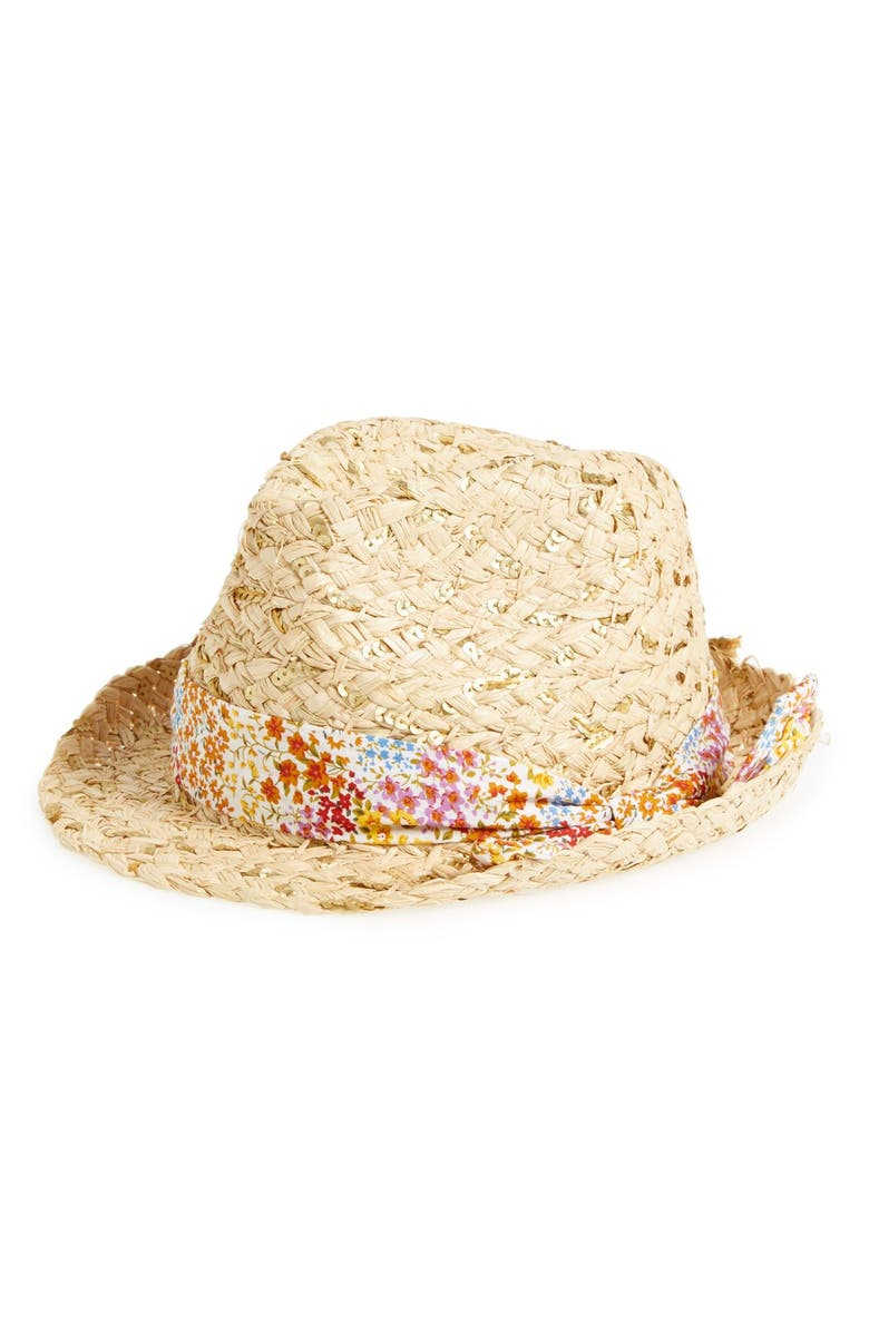 BIG BUDDHA Floral Band Sequin Straw Fedora, Main, color, 200