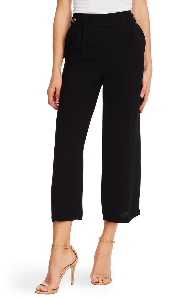 CECE Button Detail Crop Wide Leg Crepe Trousers, Main, color, 001
