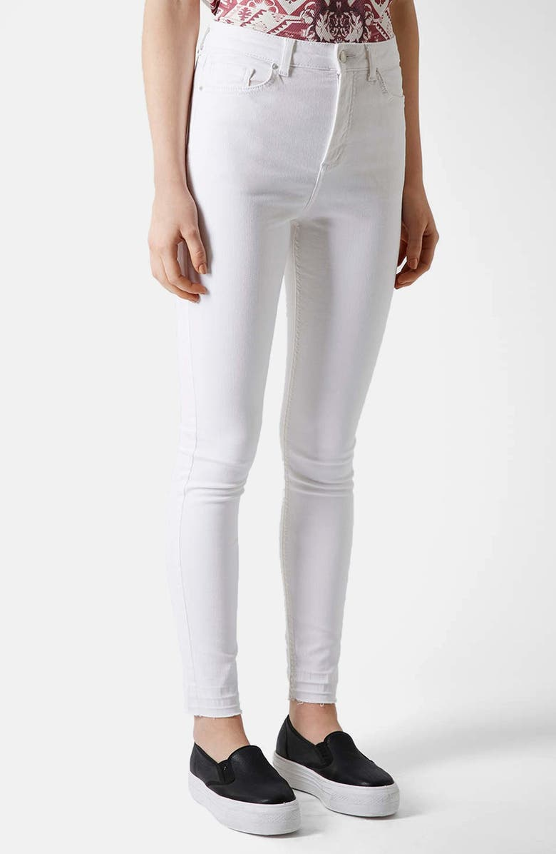 TOPSHOP Moto 'Jamie' Skinny Jeans, Main, color, White