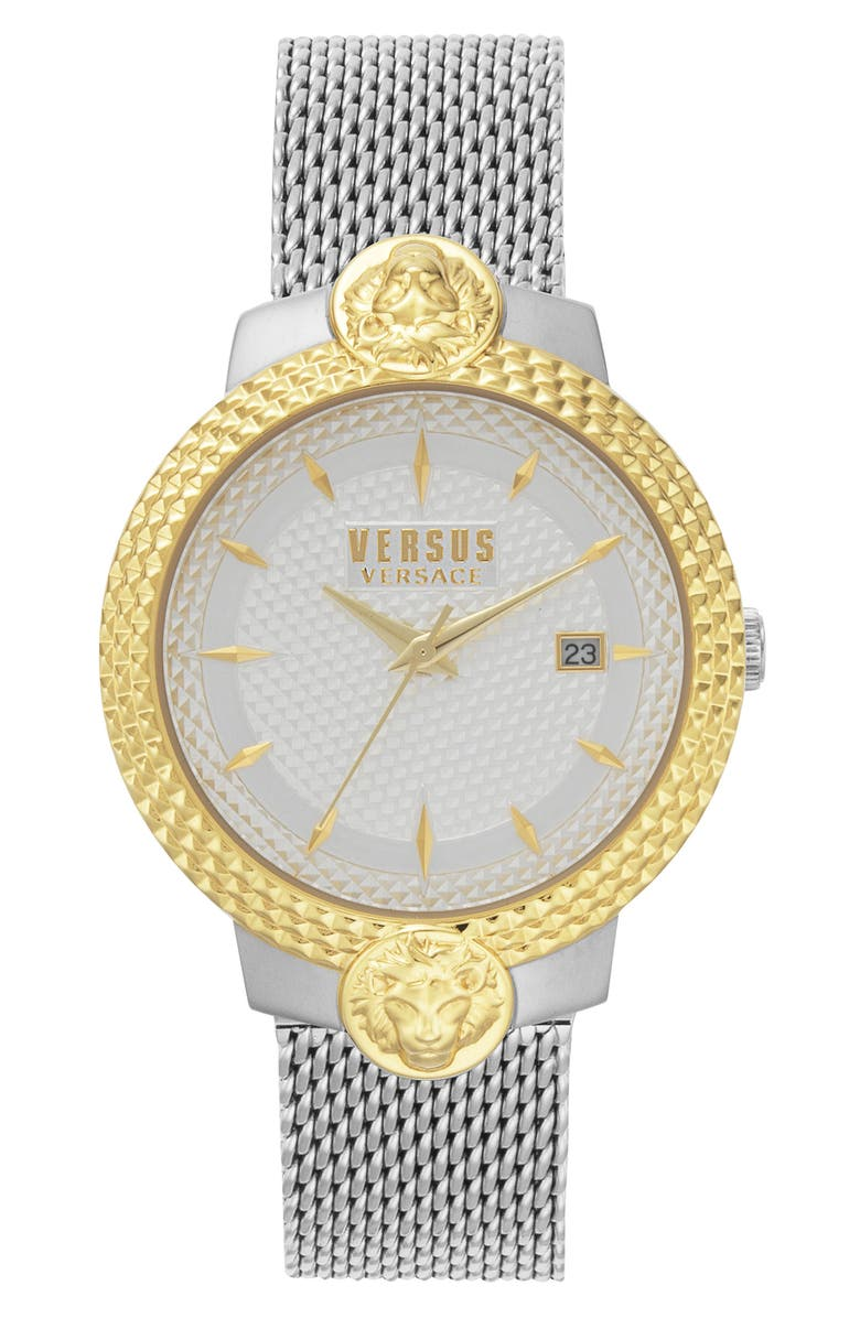 VERSUS VERSACE Mouffetard Mesh Band Watch, 38mm, Main, color, SILVER/ WHITE/ GOLD
