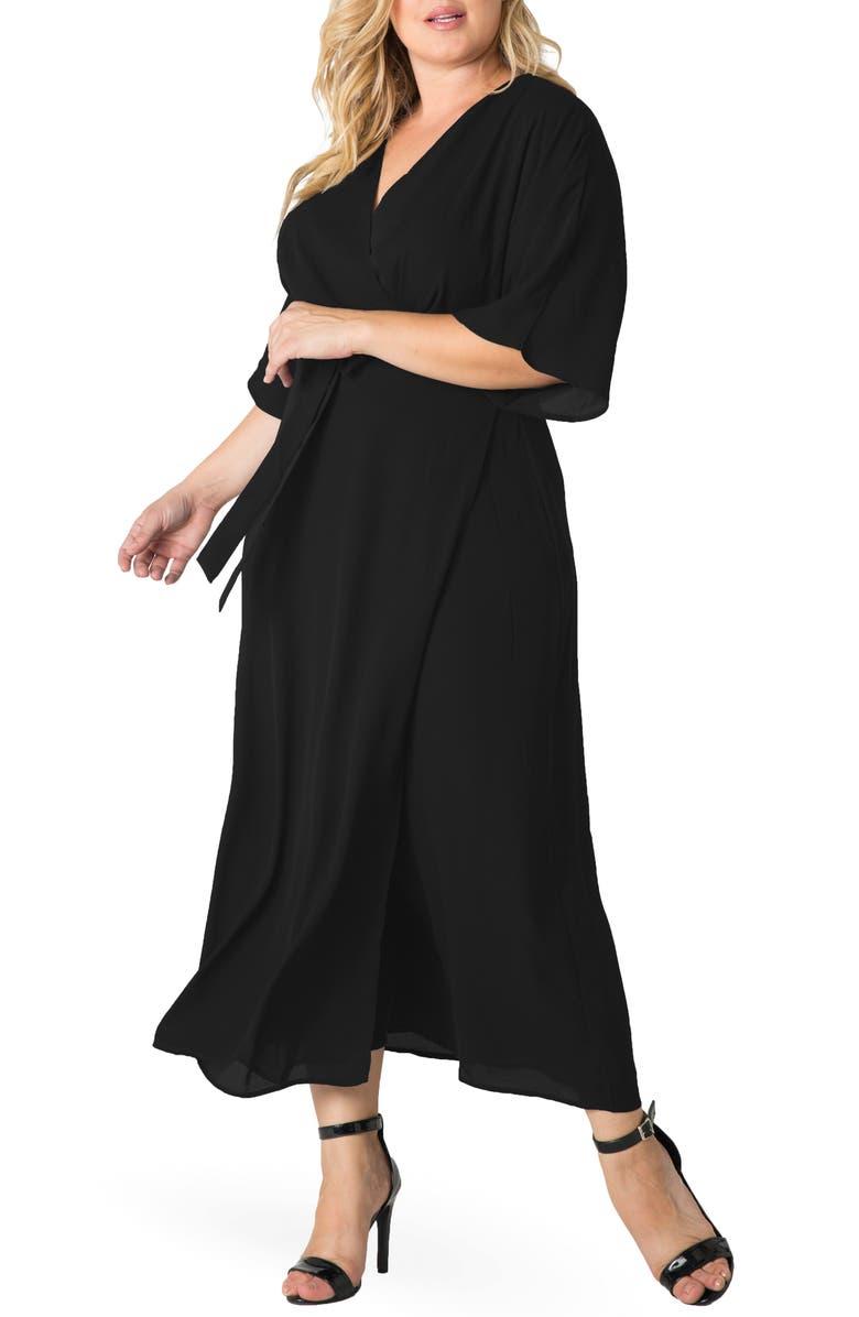 STANDARDS & PRACTICES Short Sleeve Wrap Maxi Dress, Main, color, BLACK