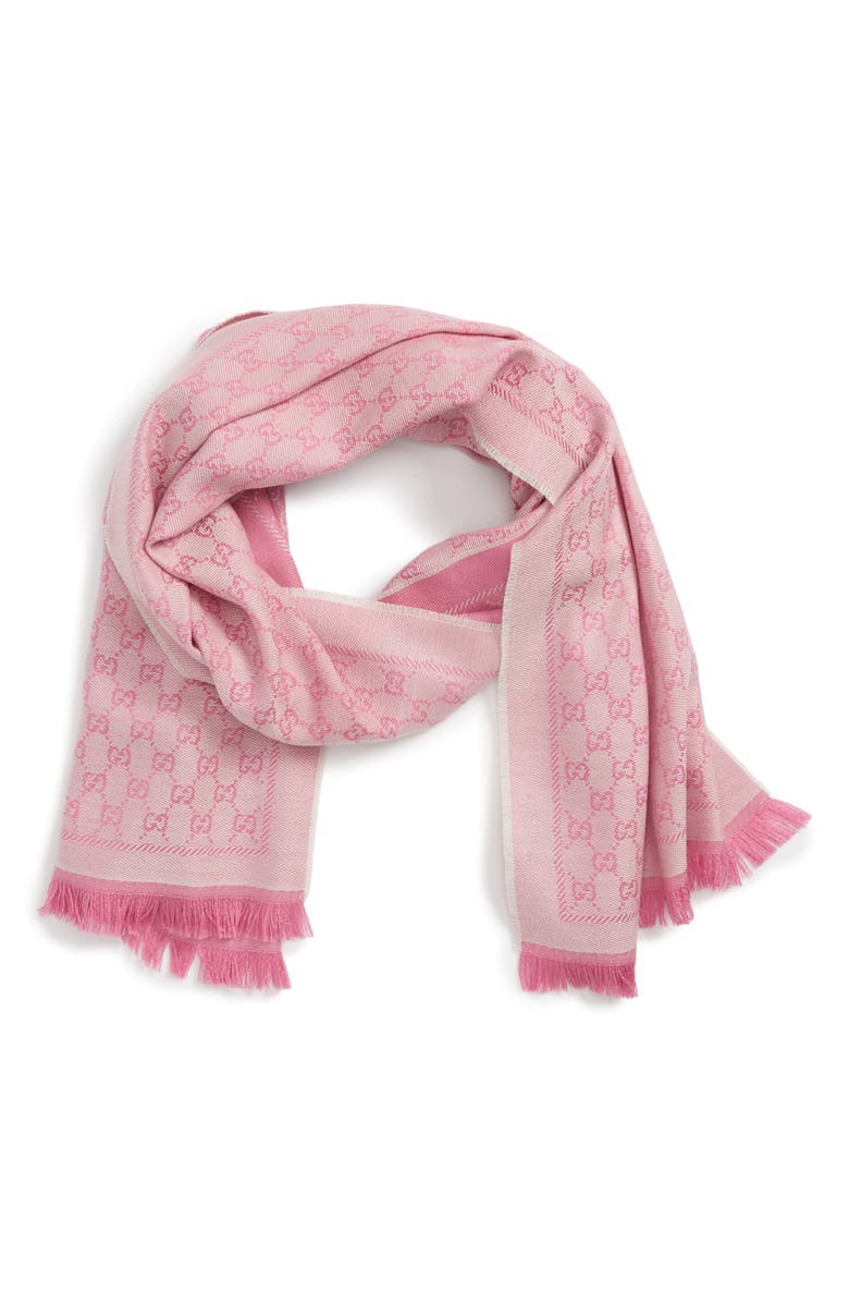 GUCCI GG Jacquard Wool Scarf, Main, color, IVORY/PINK