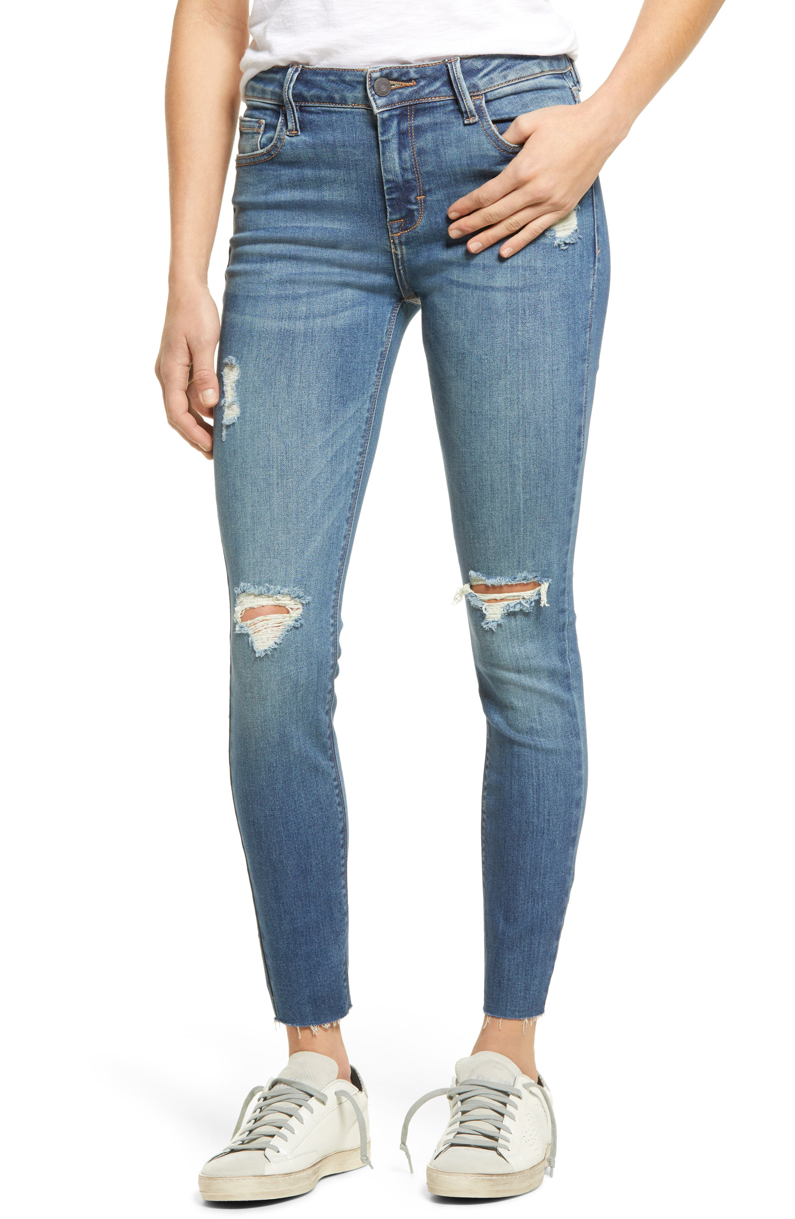Classic Ripped Ankle Skinny Jeans