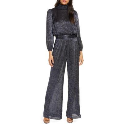 Eliza J Glitter Long Sleeve Smocked Jumpsuit, Blue