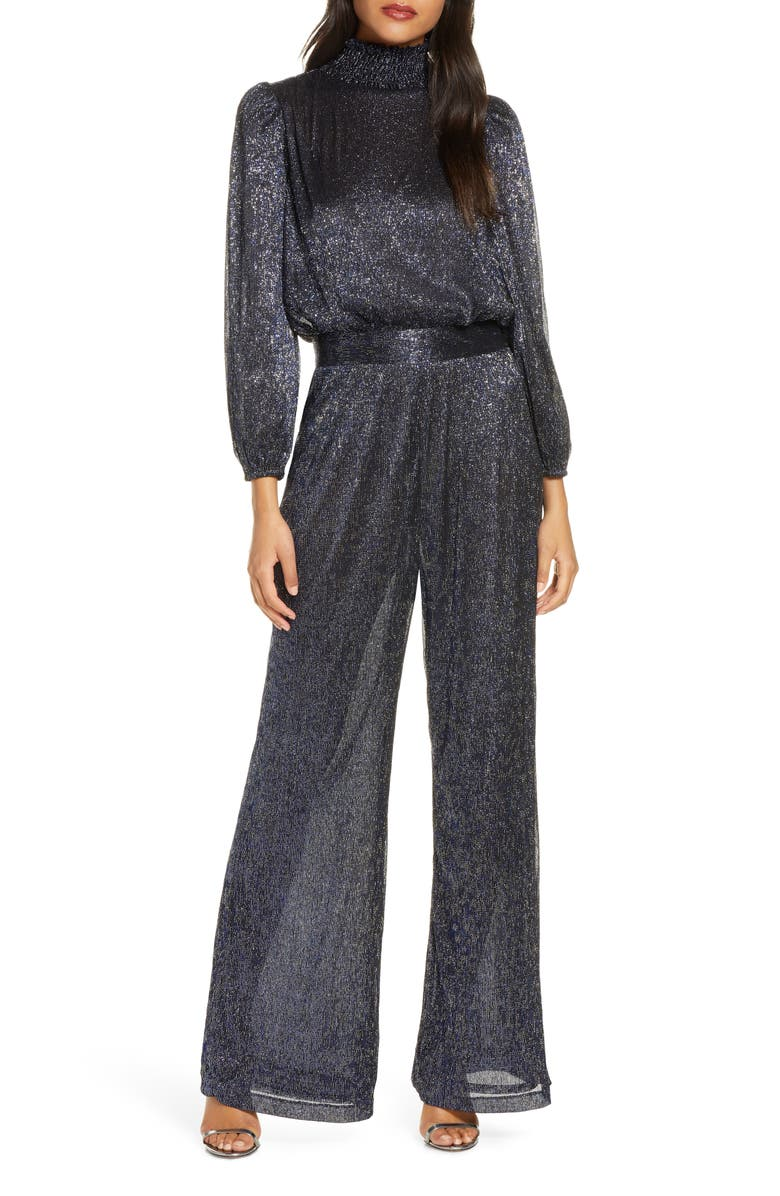 ELIZA J Glitter Long Sleeve Smocked Jumpsuit, Main, color, METALLIC NAVY/ BLACK