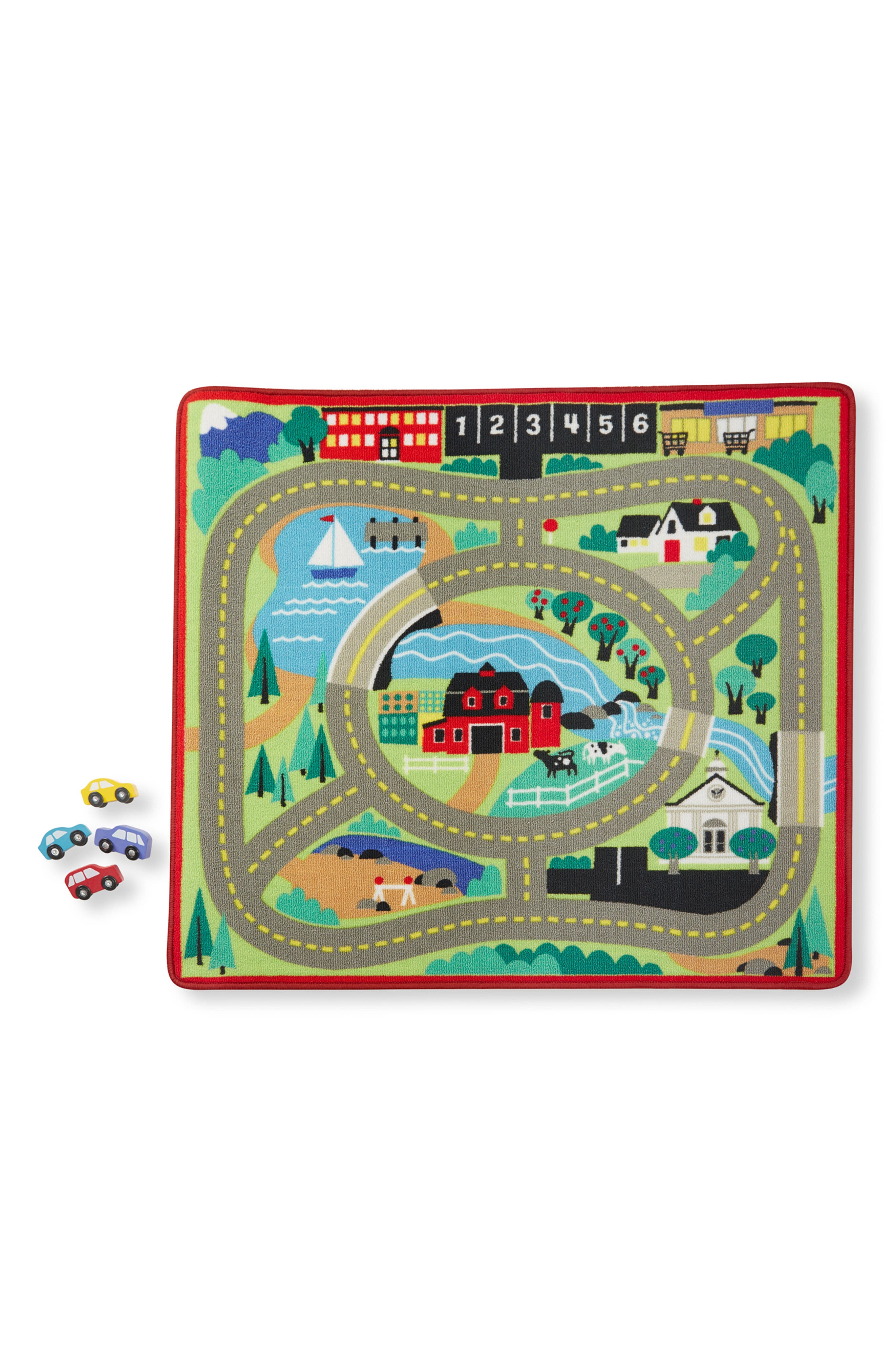 Toddler Melissa  Doug Round The Town Road Rug  Vehicle And Traffic Sign Set