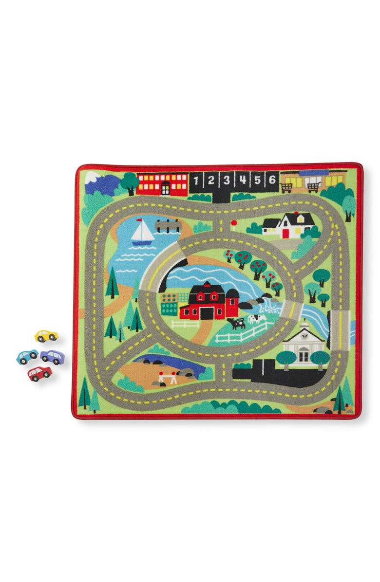 MELISSA & DOUG Round the Town Road Rug & Vehicle and Traffic Sign Set, Main, color, MULTI