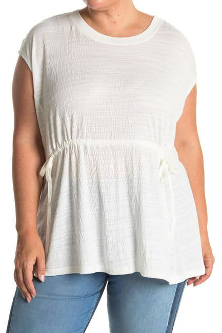 Image of Max Studio Striped Crinkled Jersey T-Shirt