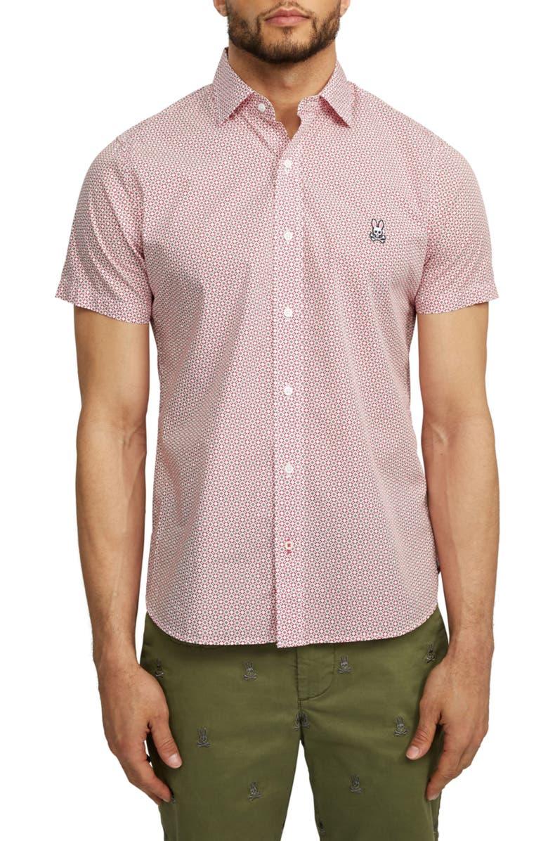 PSYCHO BUNNY Dovestone Short Sleeve Button-Up Shirt, Main, color, ANEMONE