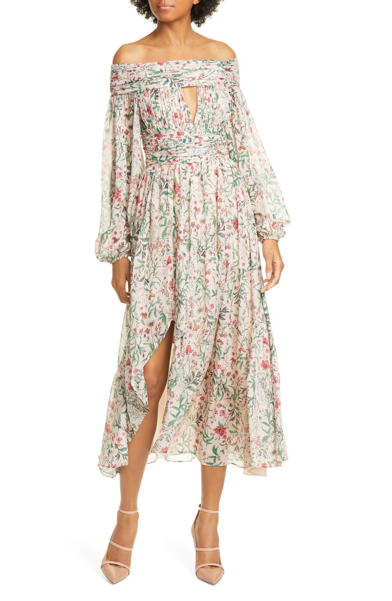 AMUR Daria Floral Off the Shoulder Long Sleeve Silk Midi Dress, Main, color, BLUSH MULTI WILDFLOWERS
