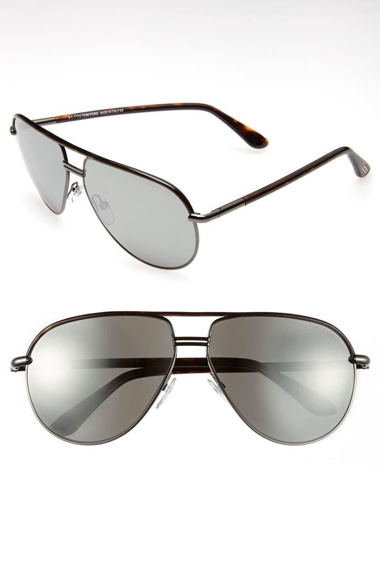 TOM FORD Cole 61mm Sunglasses, Main, color, GUNMETAL/ DARK HAVANNA