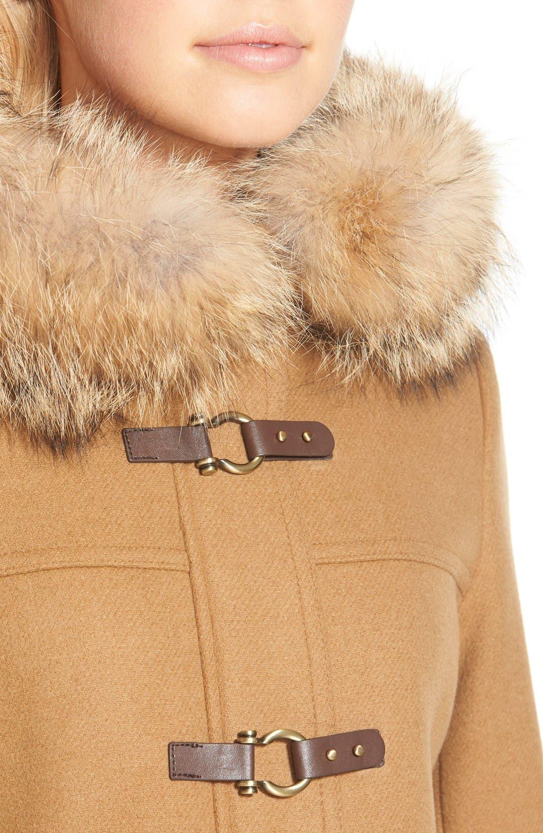 ,                             Genuine Coyote Fur Trim Wool Blend Duffle Coat,                             Alternate thumbnail 11, color,                             262