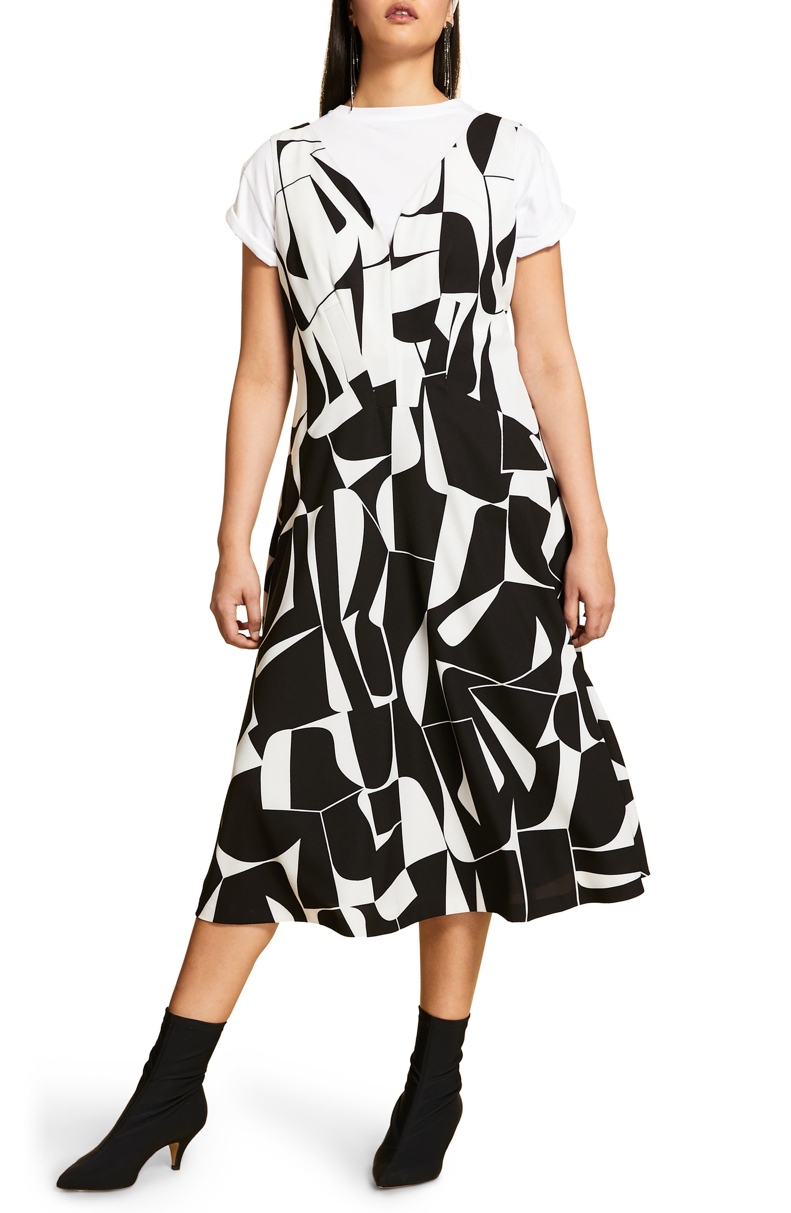 Plus Size Marina Rinaldi Dalia Graphic Print Cady Dress, Black