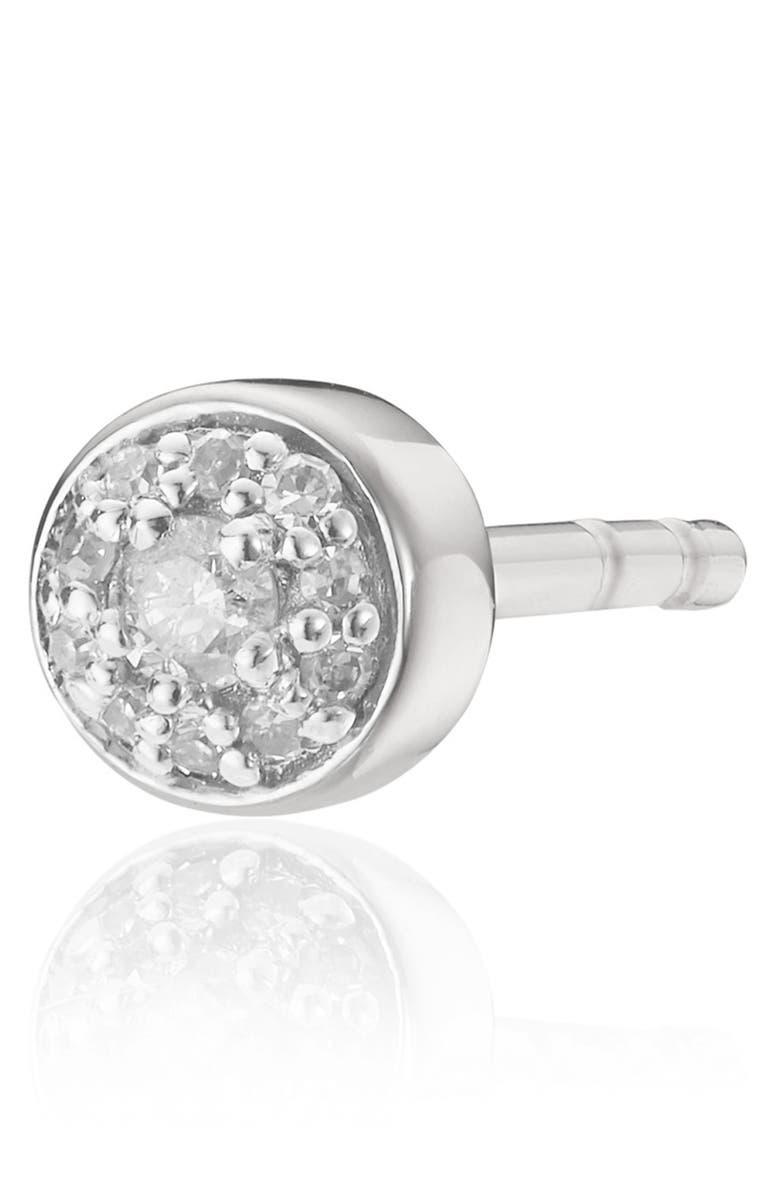 MONICA VINADER Fiji Tiny Button Diamond Stud Earring, Main, color, SILVER
