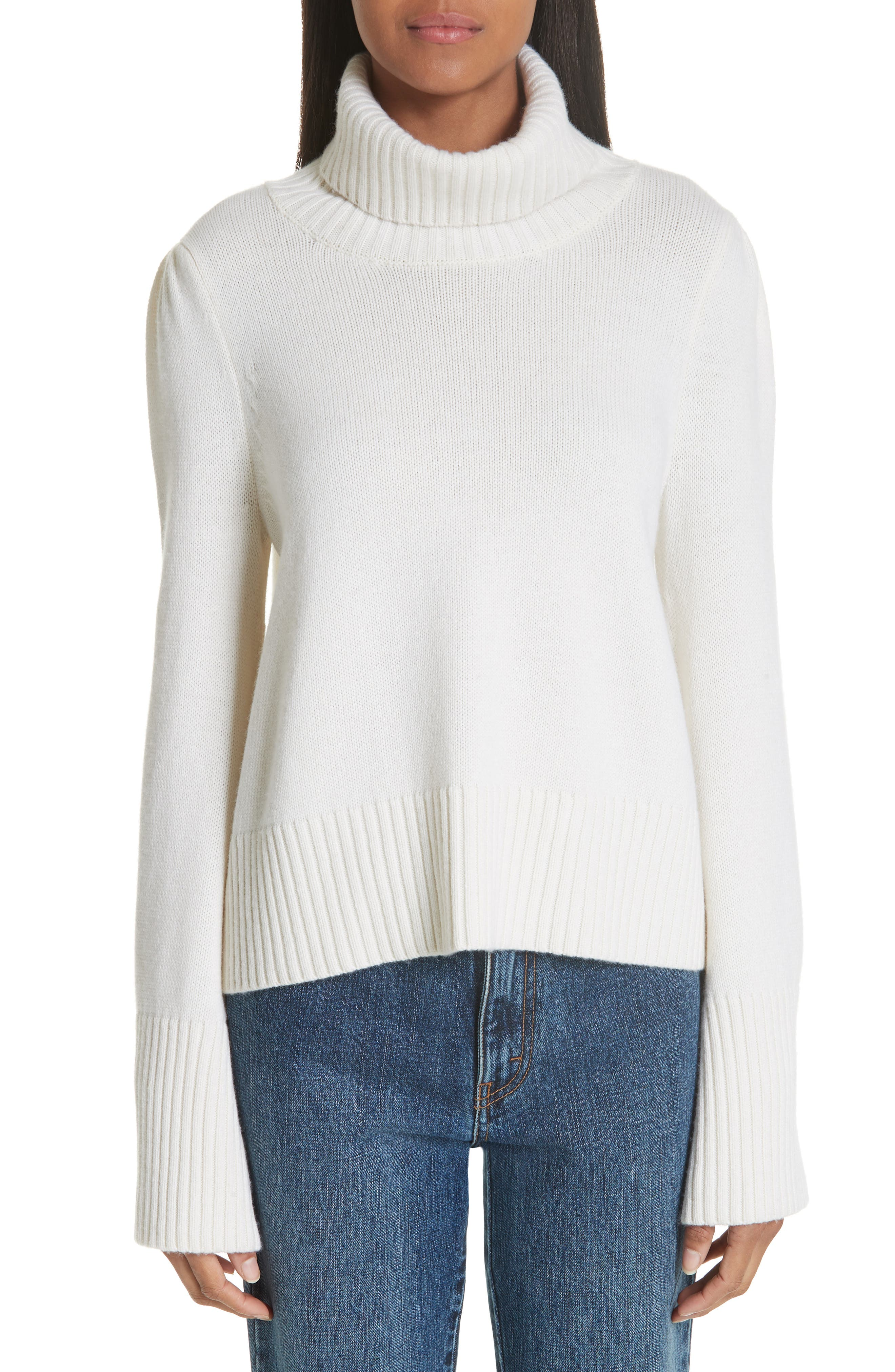 Co Essentials Flare Sleeve Wool & Cashmere Turtleneck Sweater, Ivory
