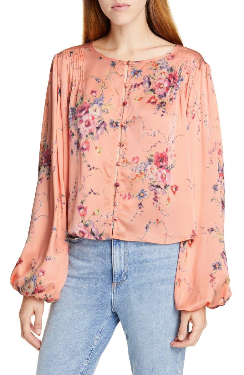 Talia Floral Silk Top, Main, color, DUCHESS
