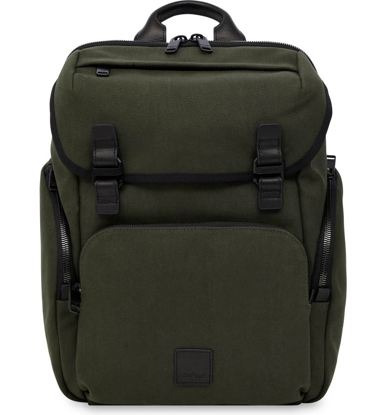 KNOMO LONDON Knomo Fulham Thurloe Waxed Canvas Backpack with RFID Pocket, Main, color, DARK GREEN