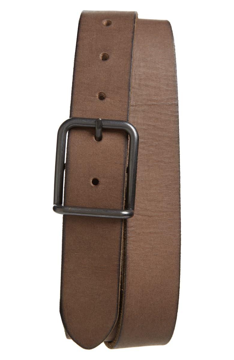 ALLSAINTS Leather Belt, Main, color, GREY