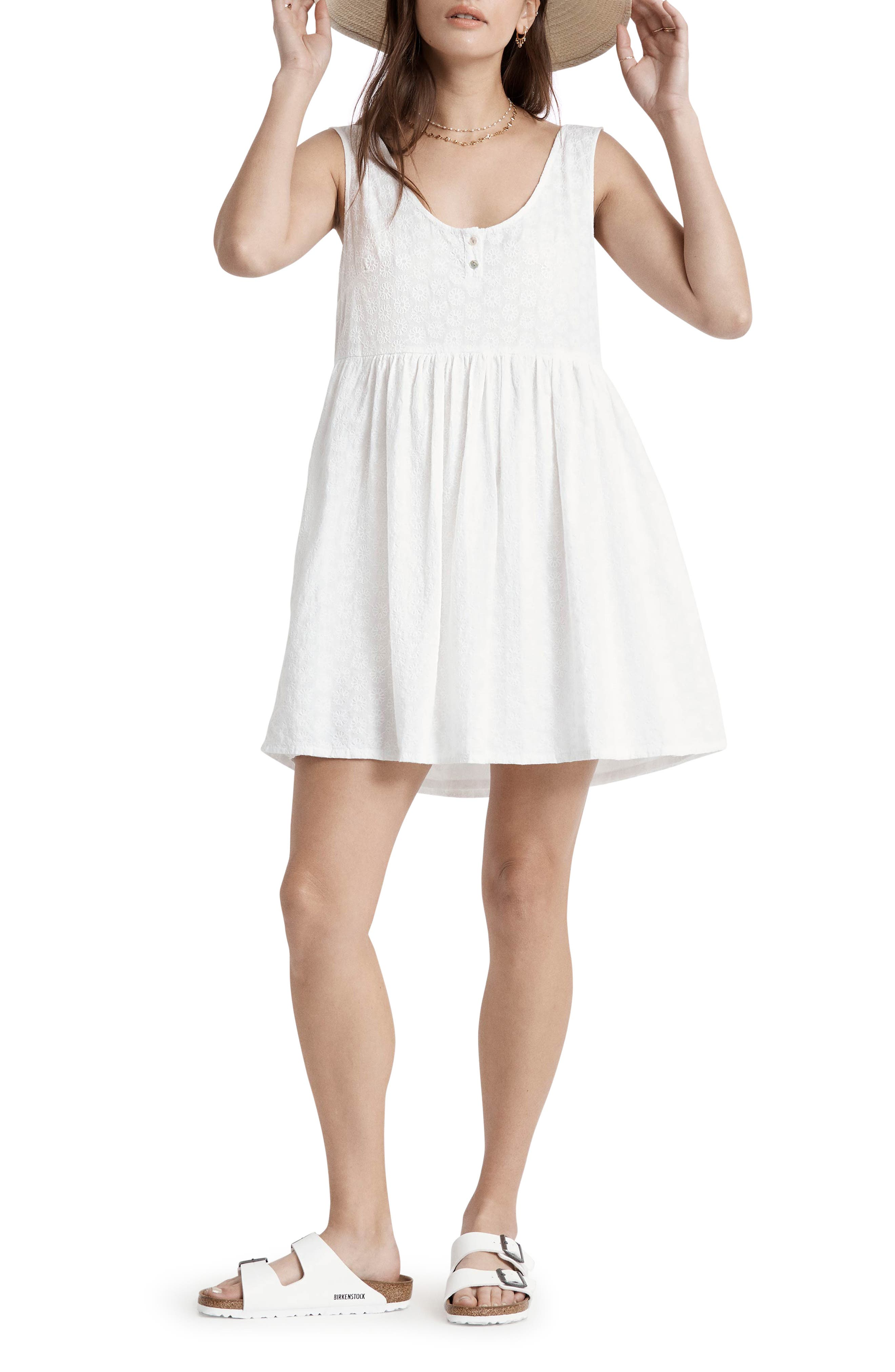 Crowley Embroidered Cotton Babydoll Dress