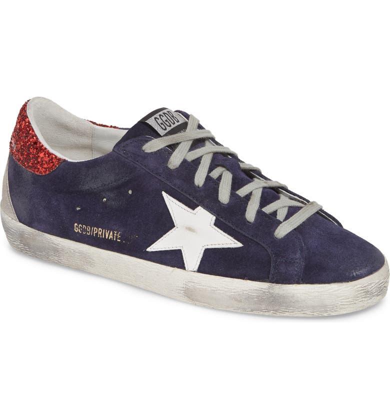 GOLDEN GOOSE Superstar Low Top Sneaker, Main, color, NAVY SUEDE/ WHITE
