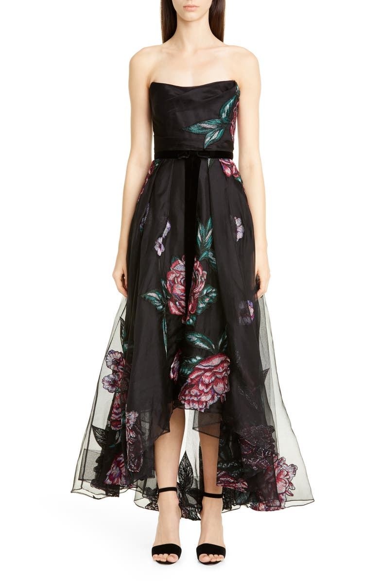 MARCHESA NOTTE Strapless Embroidered High/Low Gown, Main, color, BLACK