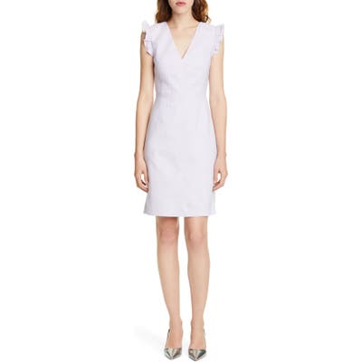 Tailored By Rebecca Taylor Frill Detail Sleeveless Linen Blend Sheath Dress, Purple