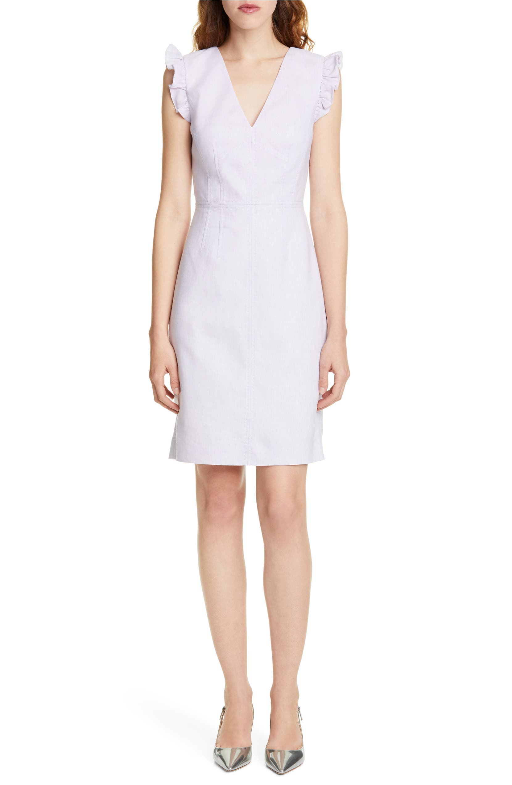 35ce16a1 Tailored by Rebecca Taylor Frill Detail Sleeveless Linen Blend Sheath Dress  | Nordstrom