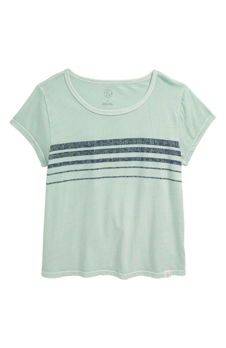 TREASURE & BOND Kids' Stripe Tee, Main, color, GREEN FONDANT STRIPE
