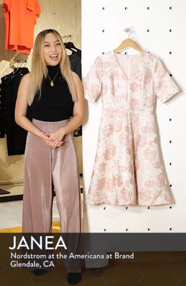 Adair Pink Passion Rose Jacquard Fit & Flare Dress, sales video thumbnail
