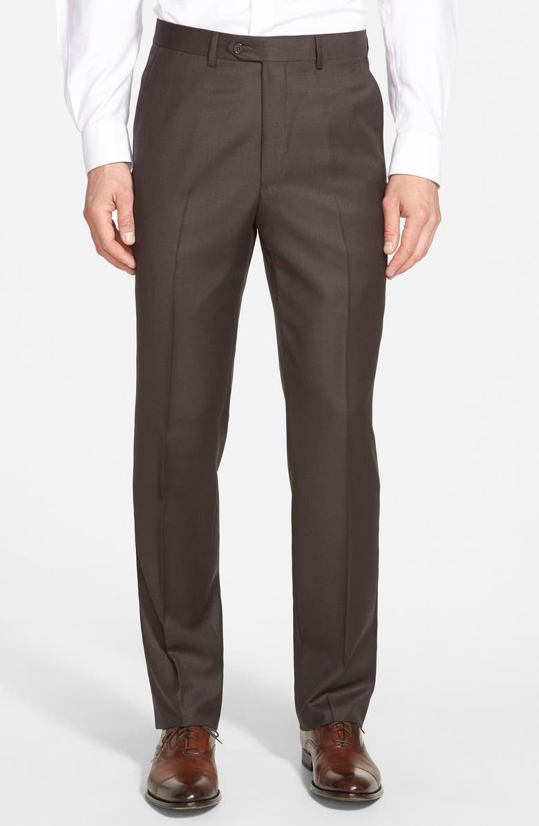 SANTORELLI Luxury Flat Front Wool Dress Pants, Main, color, ESPRESSO