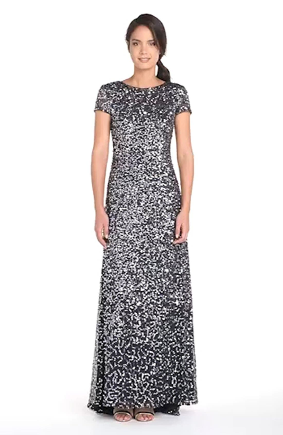 ,                             Short Sleeve Sequin Mesh Gown,                             Alternate thumbnail 39, color,                             020