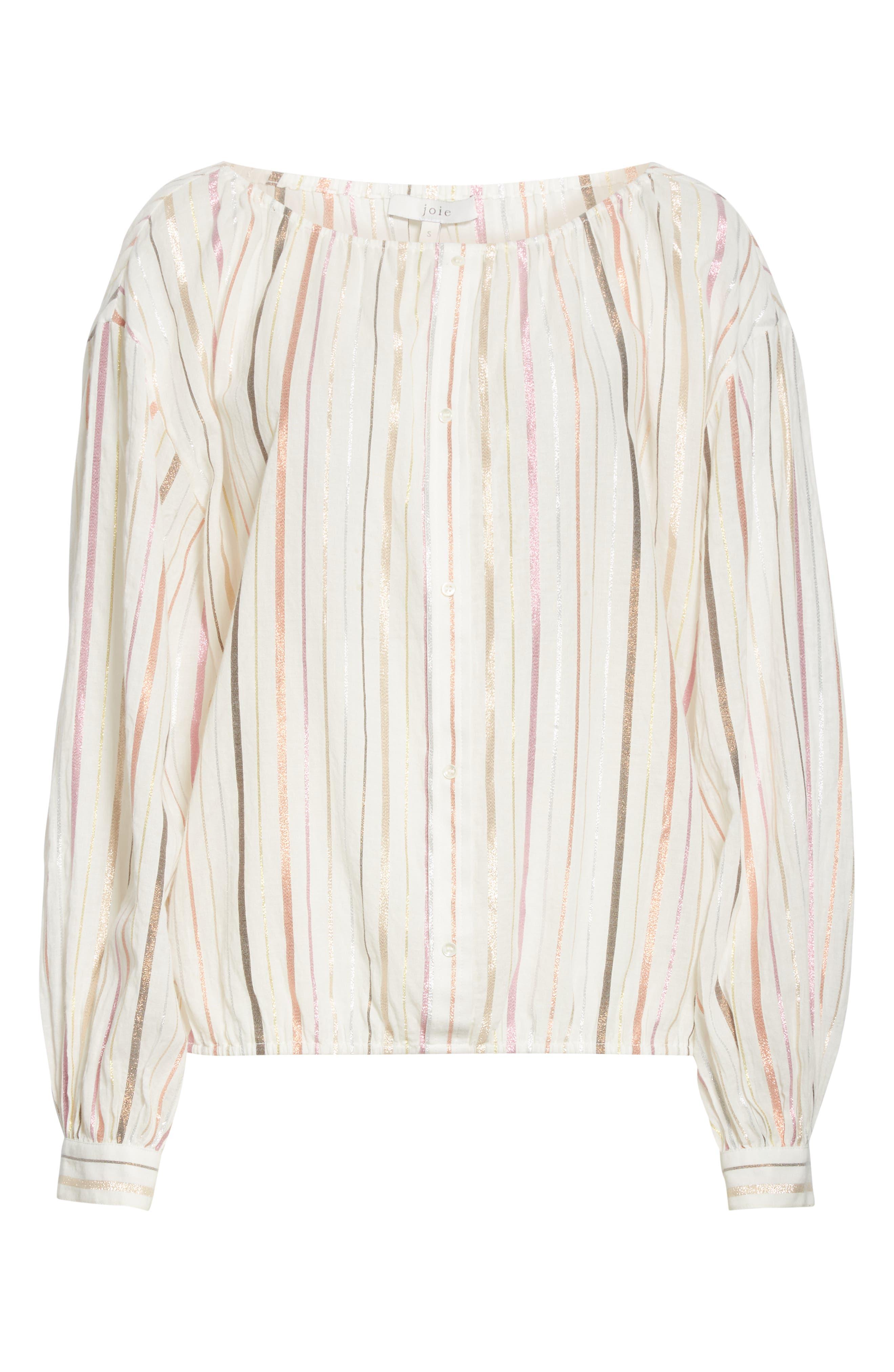 ,                             Satomi Shimmer Stripe Blouse,                             Alternate thumbnail 6, color,                             PORCELAIN