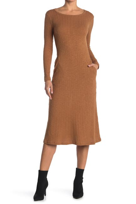 Image of MELLODAY Knit Slub Crew Neck Long Sleeve Midi Dress