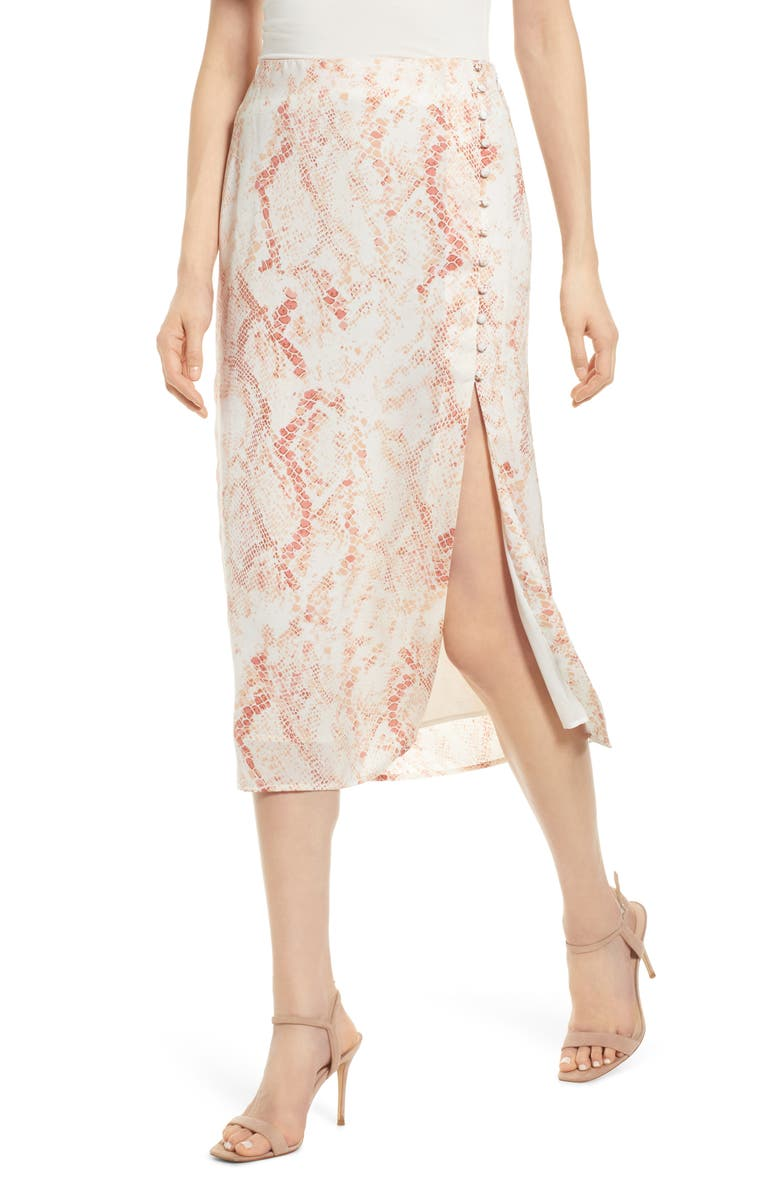 CUPCAKES AND CASHMERE Fairfax Snakeskin Print Satin Midi Skirt, Main, color, 250