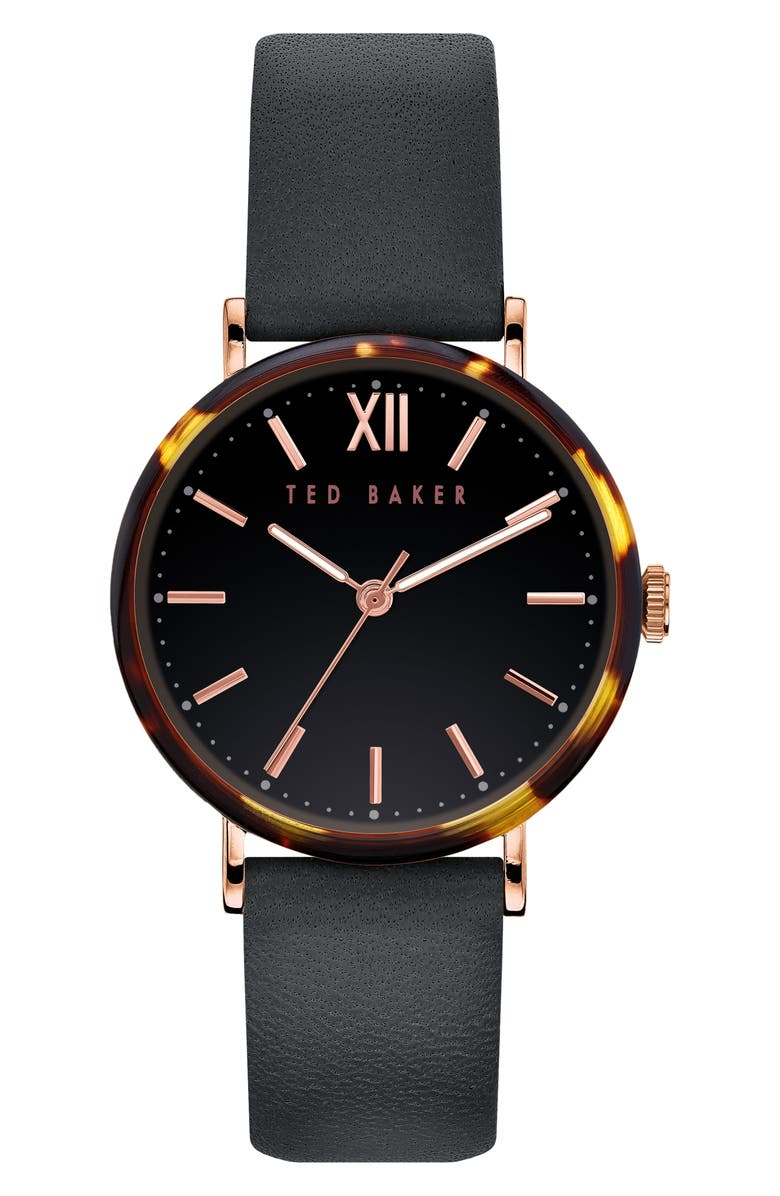 TED BAKER LONDON Phylipa Leather Strap Watch, 37mm, Main, color, 001