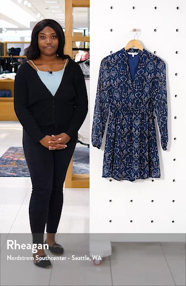 The Rocky Paisley Chiffon Long Sleeve Minidress, sales video thumbnail
