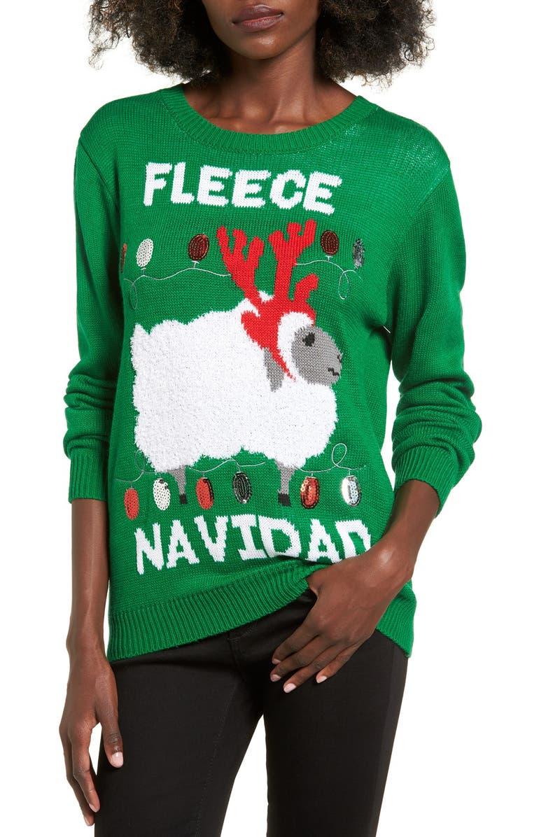 TEN SIXTY SHERMAN Fleece Navidad Graphic Christmas Sweater, Main, color, 300