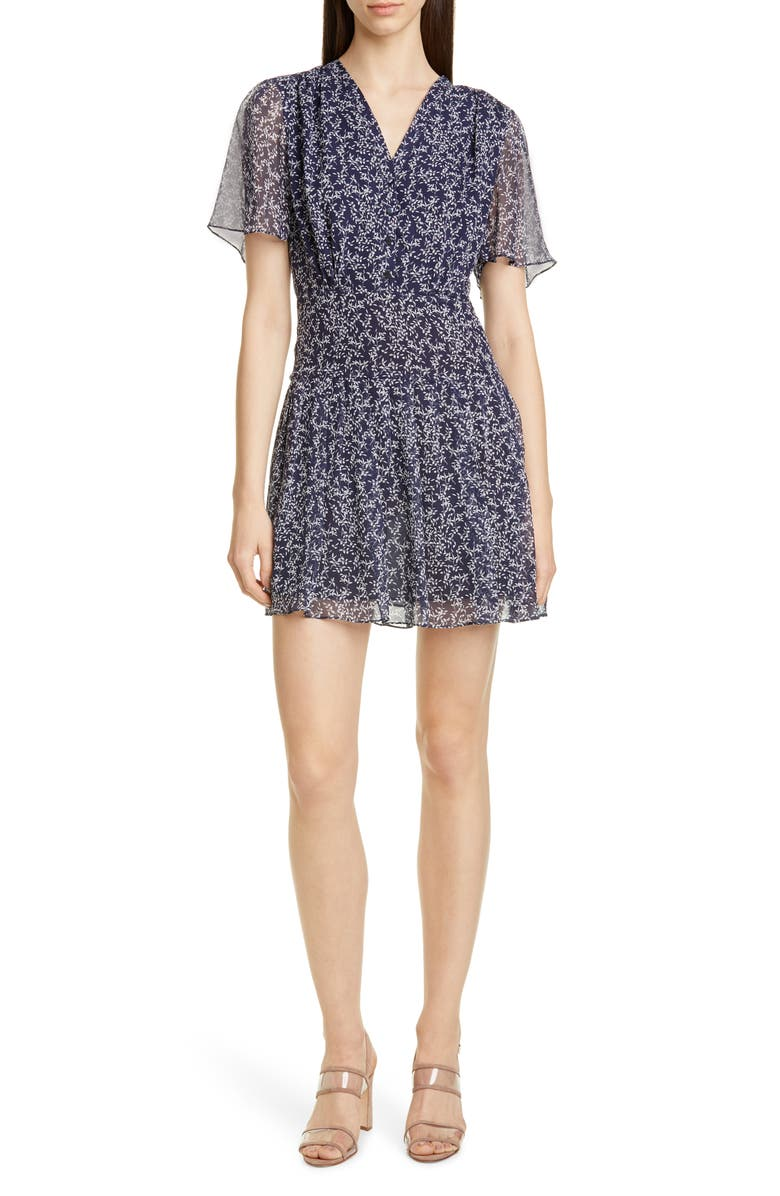 EQUIPMENT Lisle Ditsy Print Silk Dress, Main, color, ECLIPSE BRIGHT WHITE