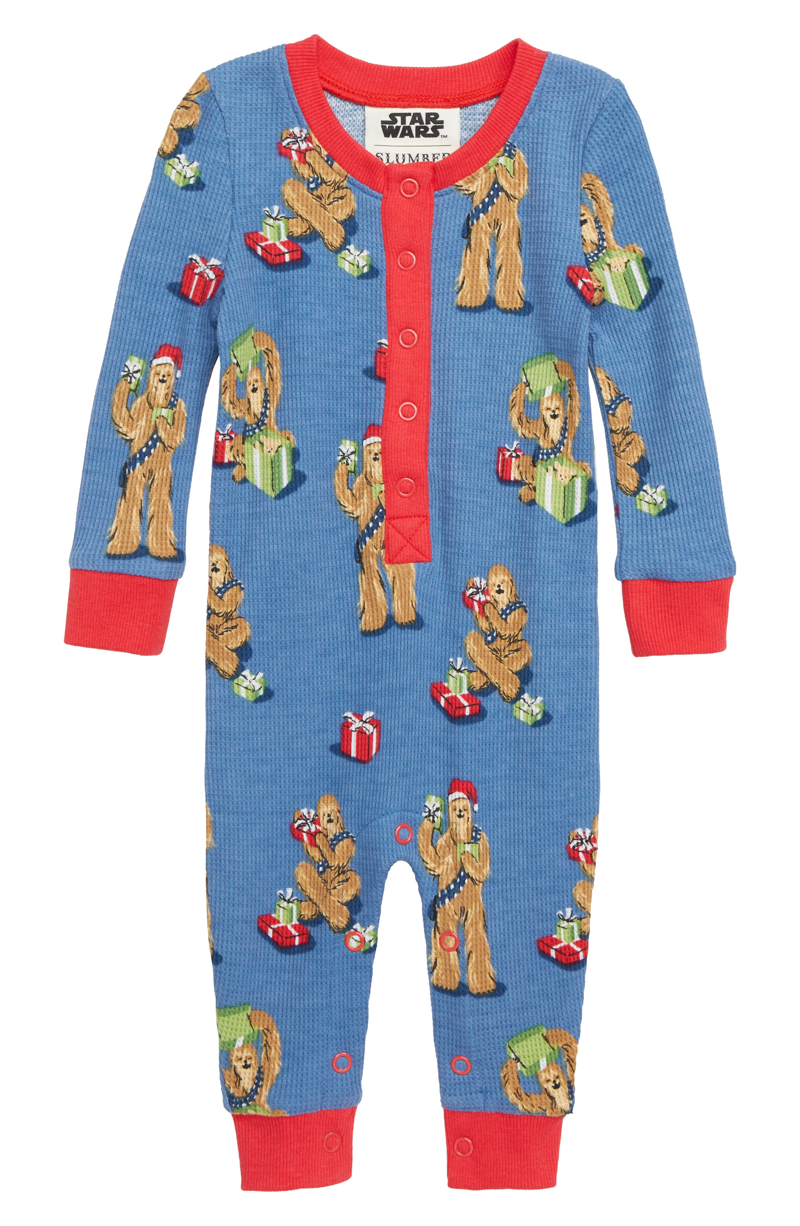 ,                             x Star Wars Christmas Chewbacca Fitted One-Piece Pajamas,                             Main thumbnail 1, color,                             400