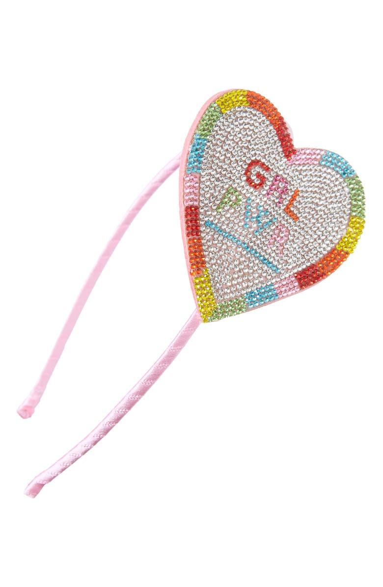 BARI LYNN Girl Power Crystal Embellished Heart Headband, Main, color, MULTI