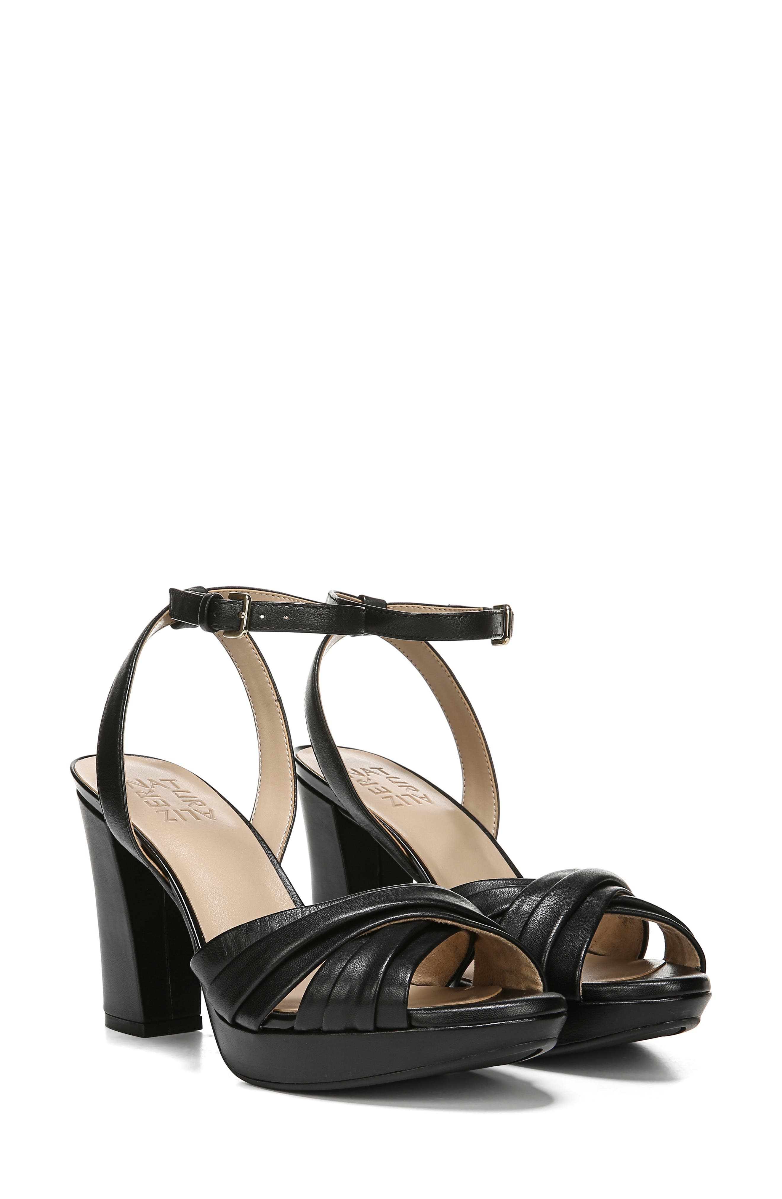,                             Avril Ankle Strap Sandal,                             Alternate thumbnail 9, color,                             BLACK LEATHER